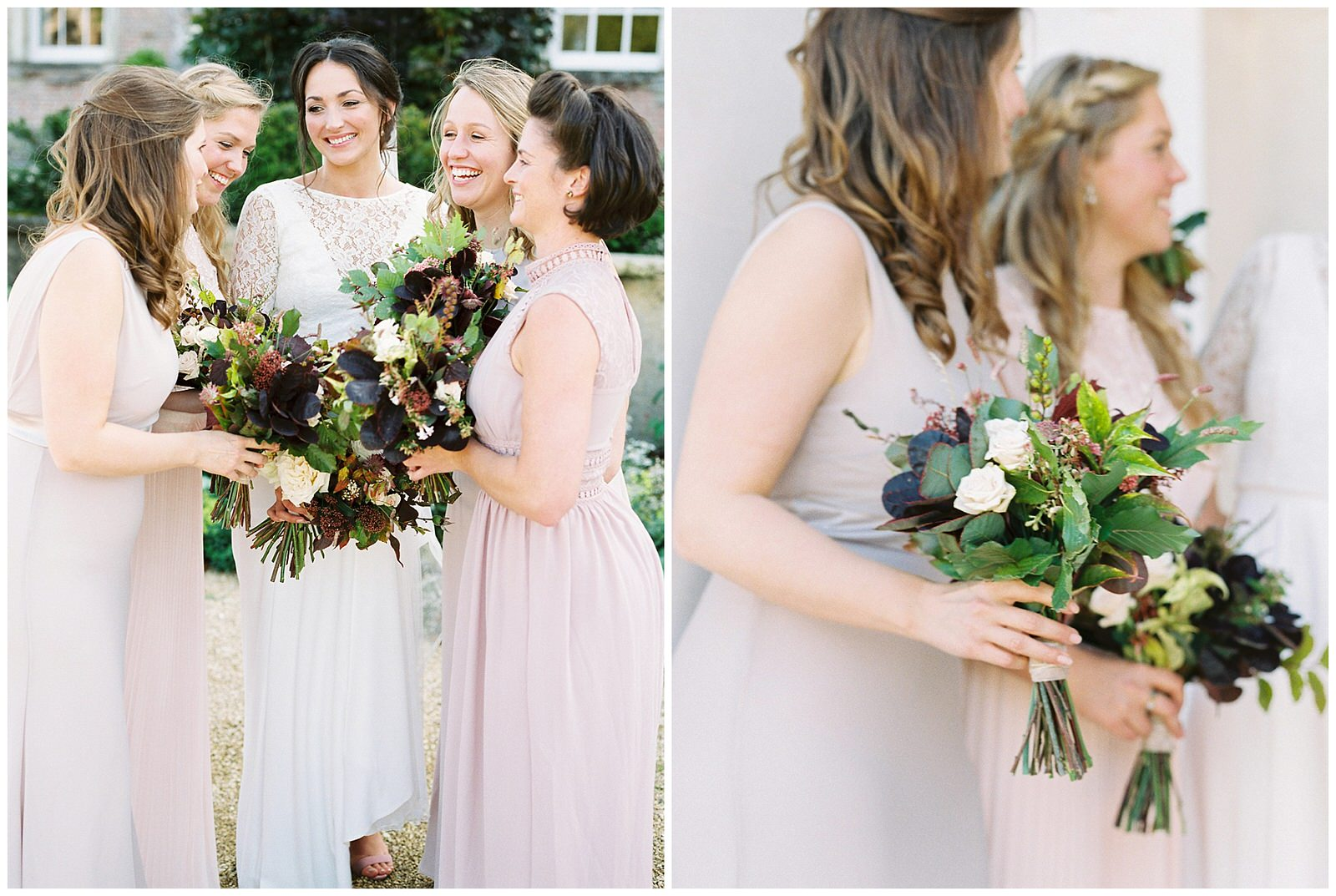 blush and lilac bride and bridemaids outside st giles house