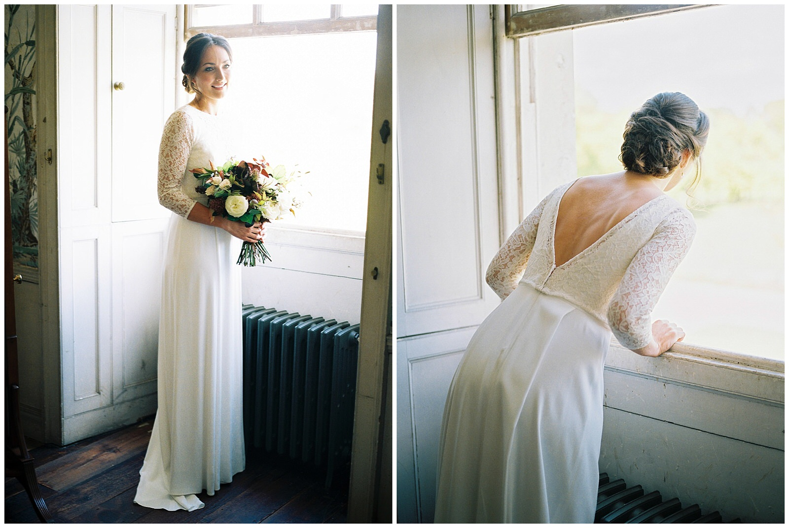 BRIDE WATCHING HER GUESTS ARRIVE THROUGH WINDOW AT ST GILES HOUSE