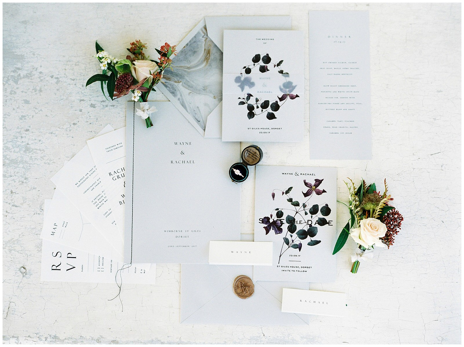 GREY AND GOLD WEDDING INVITATION SUITE