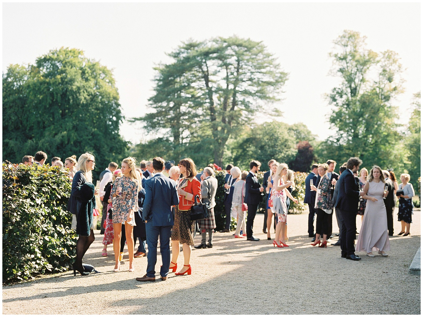 WEDDING GUESTS AT ST GILES HOUSE AUTUMN WEDDING