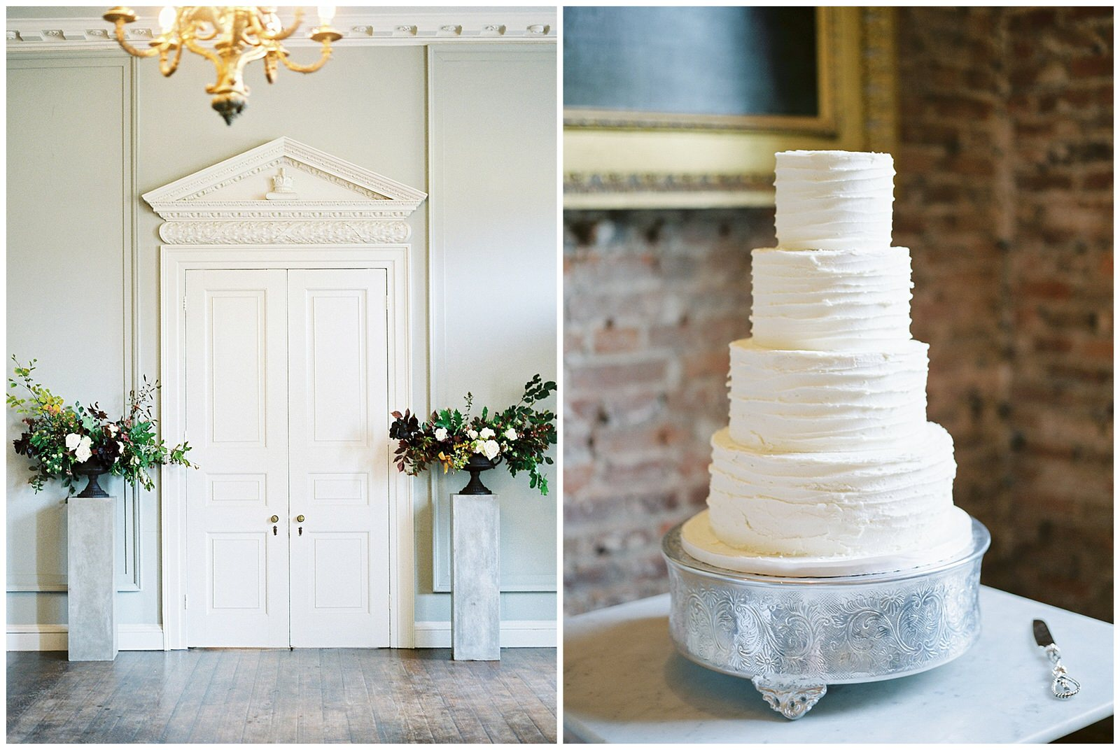 white minimalistic wedding cake at st giles house