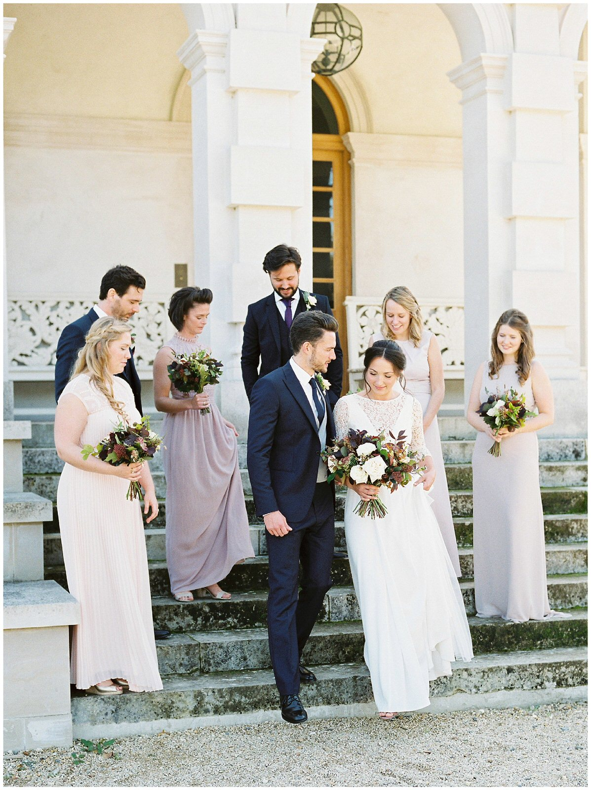 navy and blush bridal party outfits