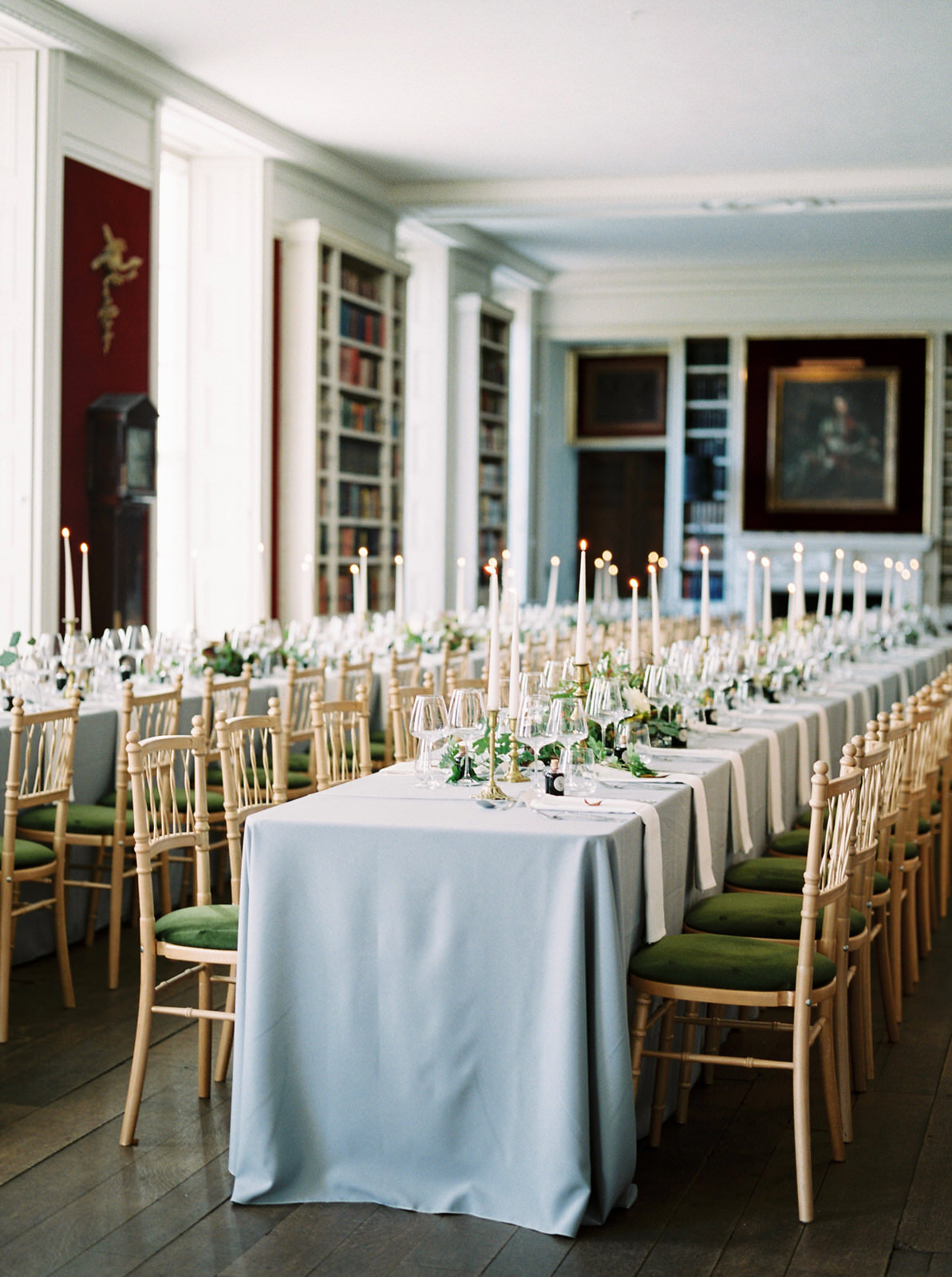 elegant grey and gold wedding tables at st giles house
