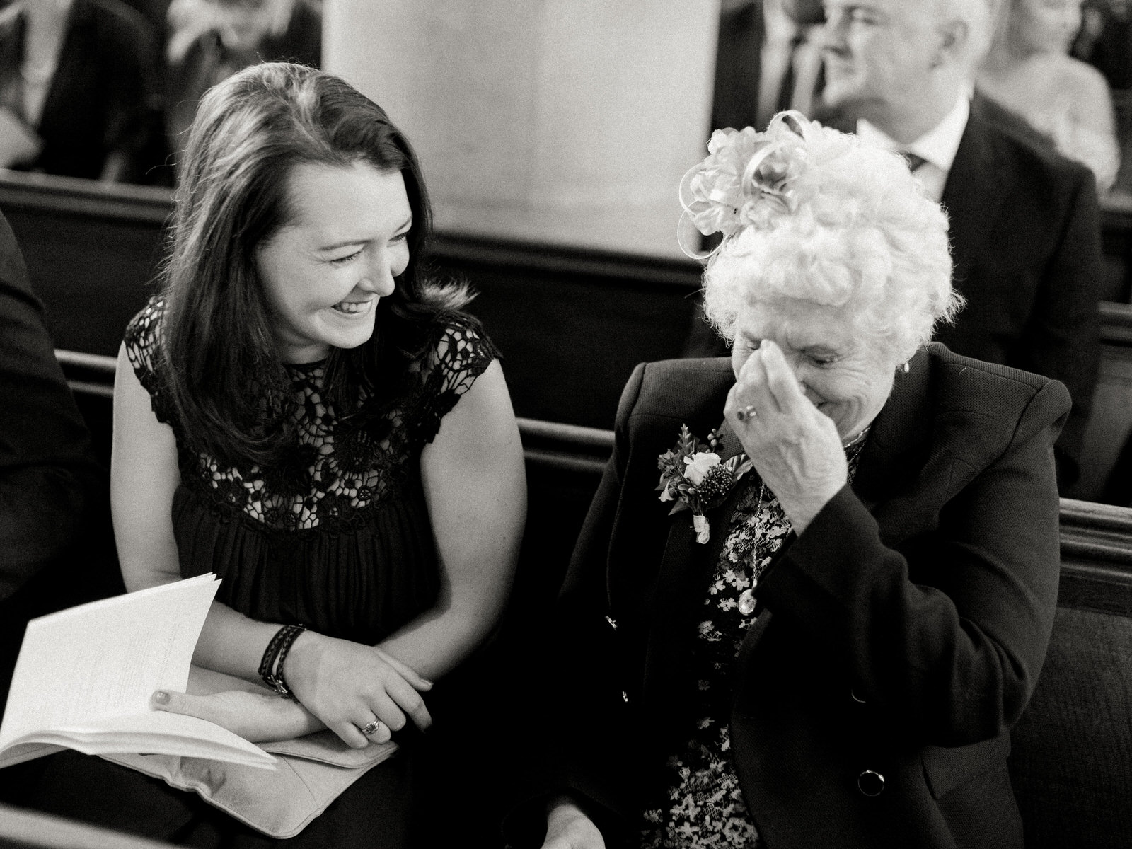 granny of the bride laughing at jokes