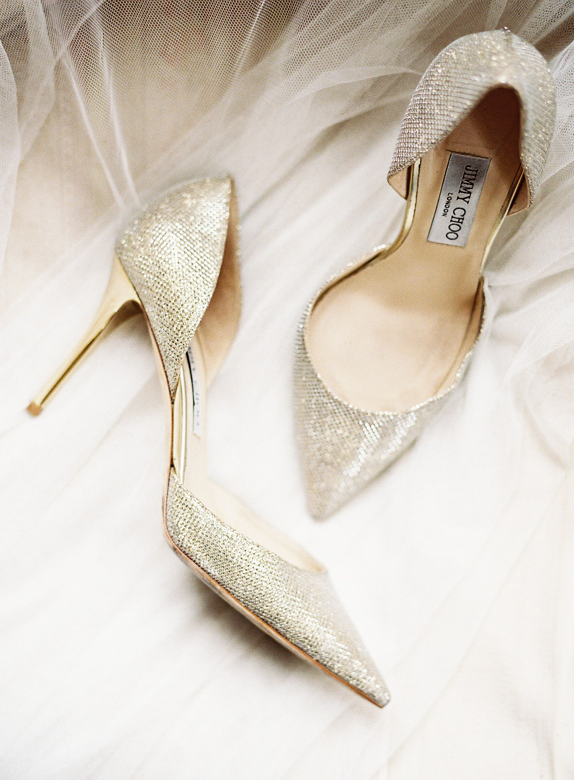 gold metallic wedding shoes by jimmy choo