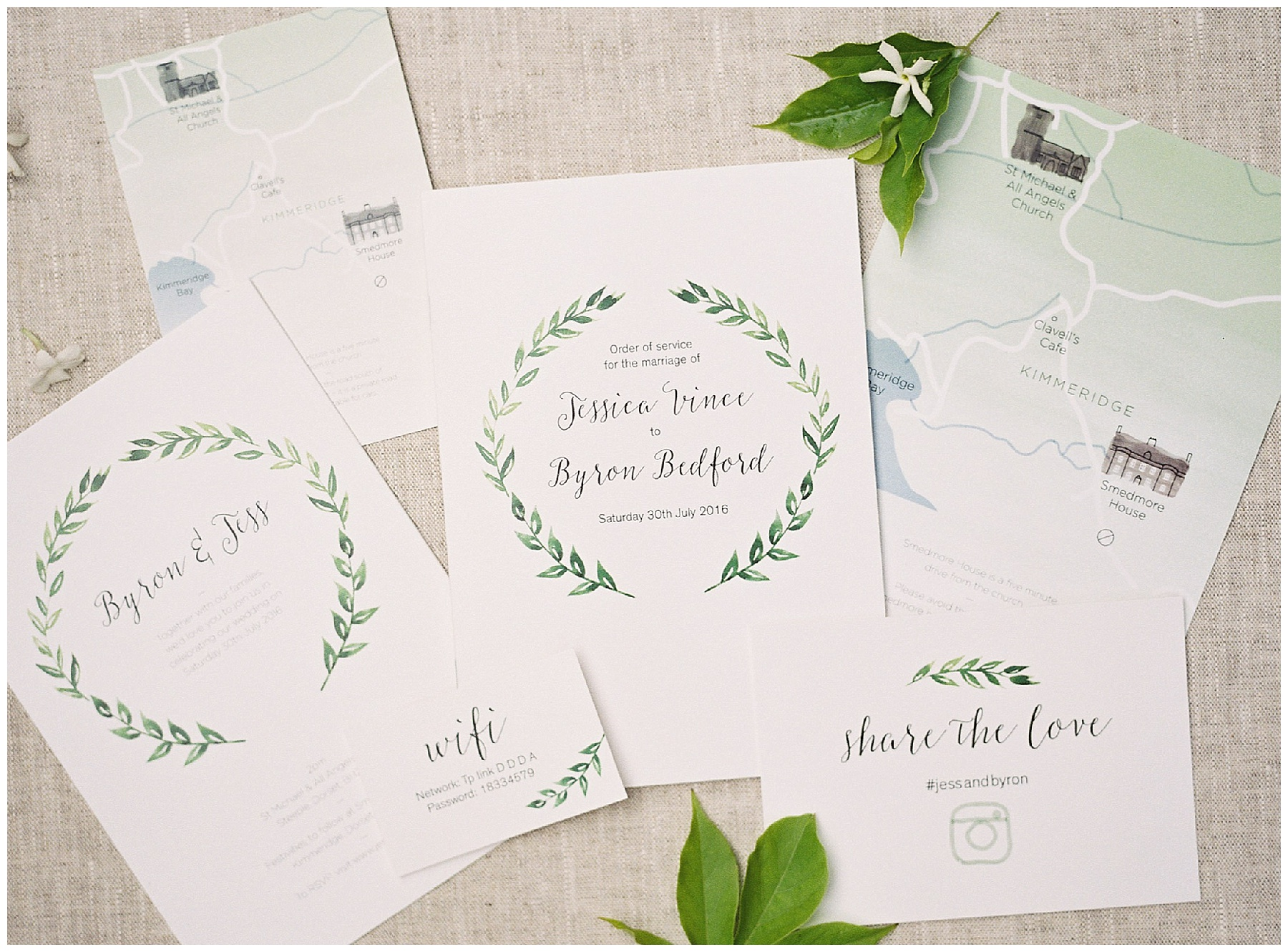 green and white luxury wedding invitation suite