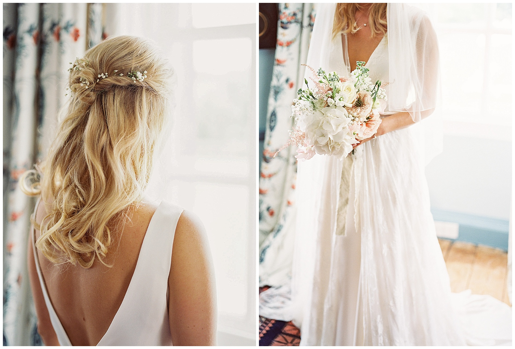 blonde and curled wedding hair style with charlie brear gown