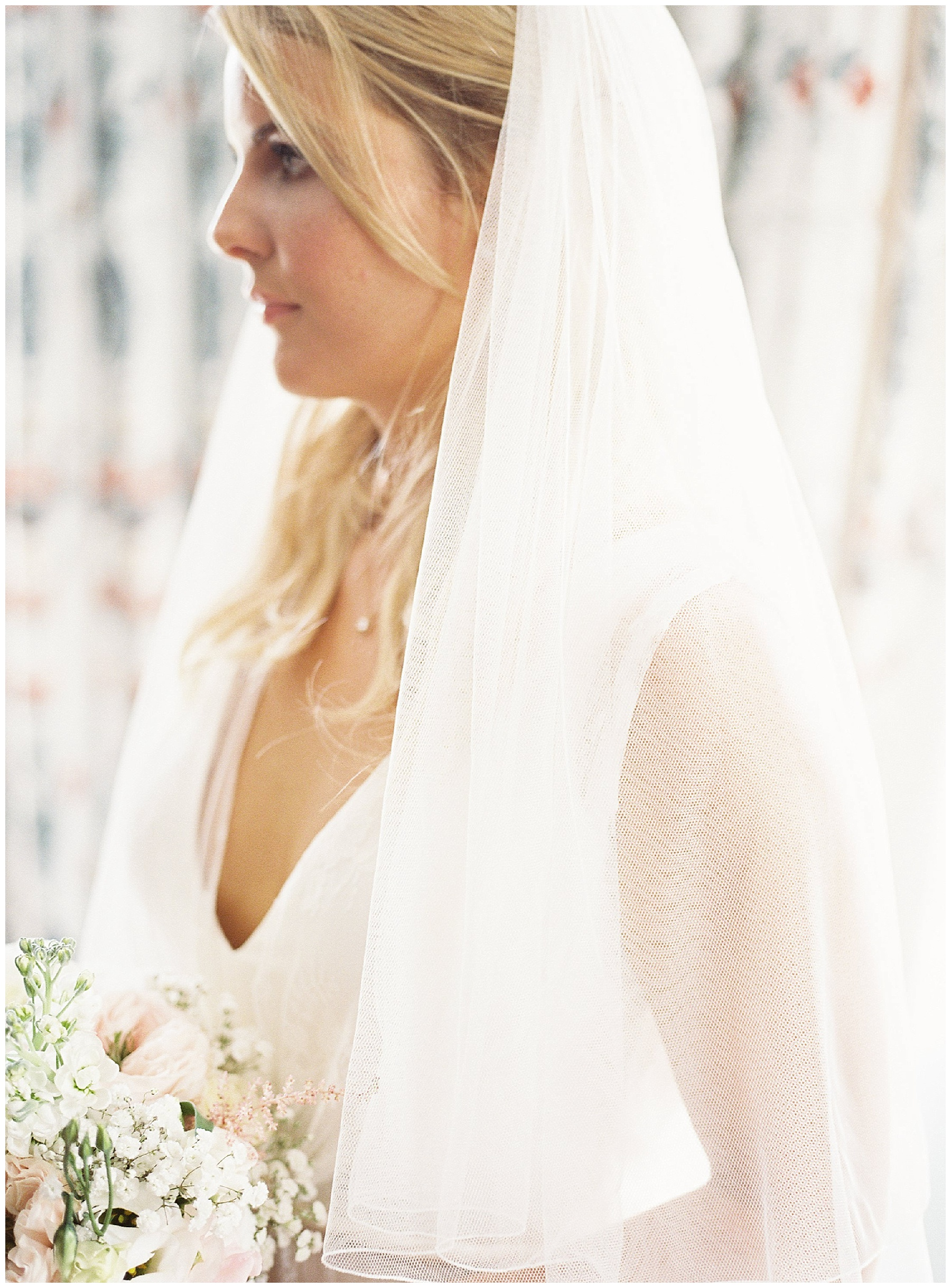 portrait of a bride wearing her veil